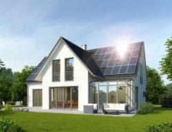 Haus mit Wintergarten und Solardach